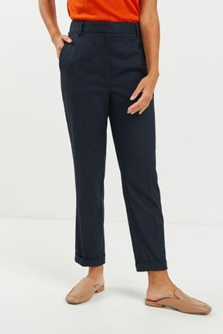 WOMEN Navy Tailored Taper Trousers
