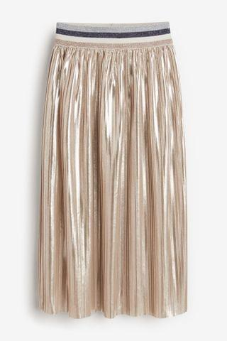 KIDS Silver Metallic Pleated Midi Skirt (3-16yrs)