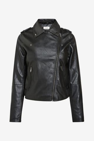 WOMEN Black Faux Leather Biker Jacket