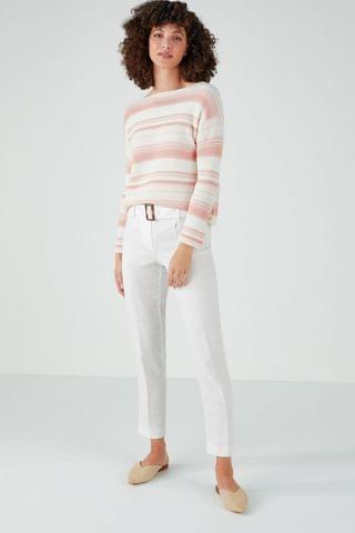 WOMEN Pure Collection White Laundered Linen Belted Trousers