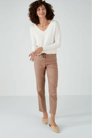 WOMEN Pure Collection Camel Laundered Linen Belted Trousers