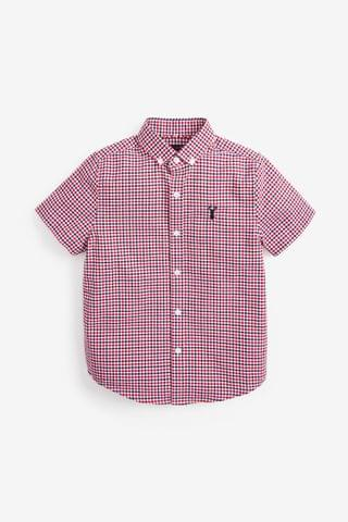KIDS Red/Navy/White Short Sleeve Gingham Oxford Shirt (3-16yrs)