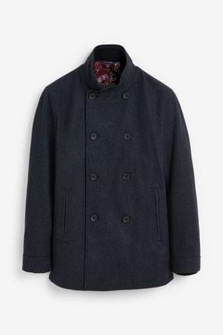 MEN Charcoal Double Breasted Funnel Neck Coat