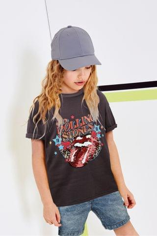 KIDS Charcoal License Longline Sequin Rolling Stones T-Shirt (3-16yrs)