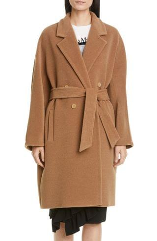 WOMEN Max Mara Baiocco Double Breasted Camel Hair & Wool Coat