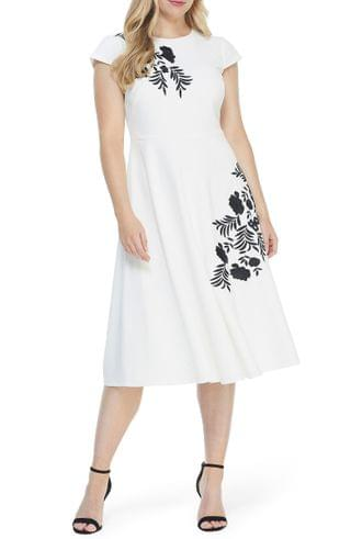 WOMEN Maggy London Embroidered Crepe A-Line Midi Dress