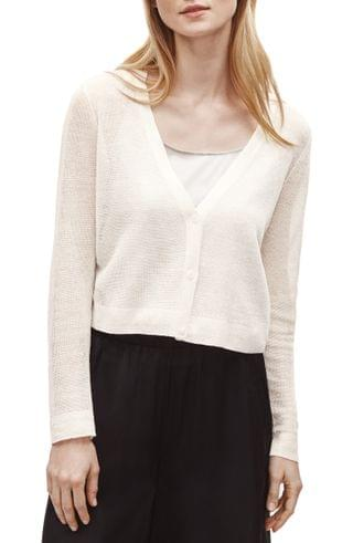 WOMEN Eileen Fisher Organic Linen Blend Crepe Crop Cardigan (Regular & Petite)