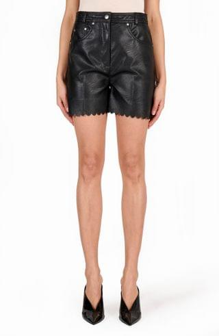 WOMEN Stella McCartney Maddox Scalloped High Waist Faux Leather Shorts