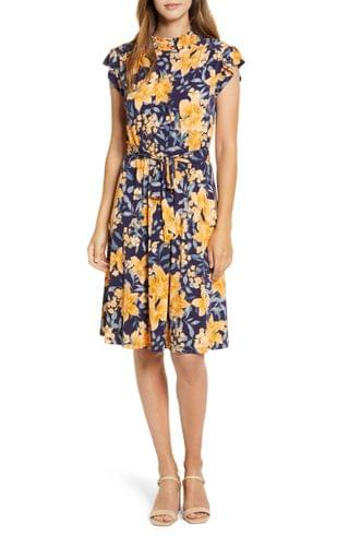 WOMEN Maggy London Floral Print Belted A-Line Dress