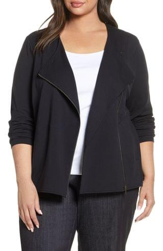 WOMEN NIC+ZOE Perfect Conquer Knit Moto Jacket (Plus Size)