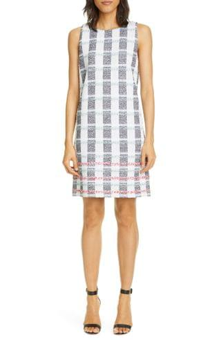 WOMEN St. John Collection Stripe Tweed Knit Shift Dress