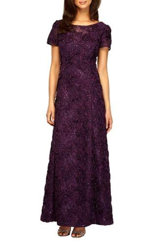WOMEN Alex Evenings Embellished Lace A-Line Gown