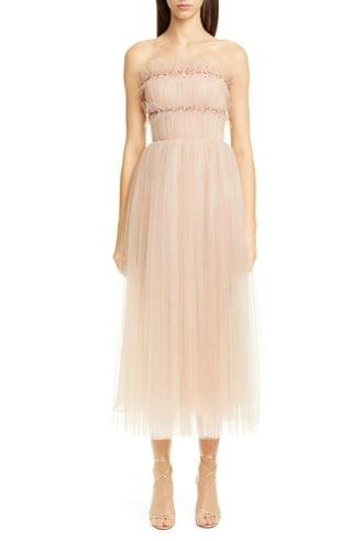 WOMEN Jason Wu Collection Strapless Ruched Tulle Midi Cocktail Dress