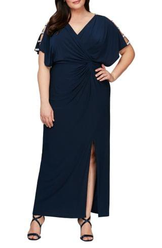 WOMEN Alex Evenings Embellished Sleeve Knot Front Gown (Plus Size)