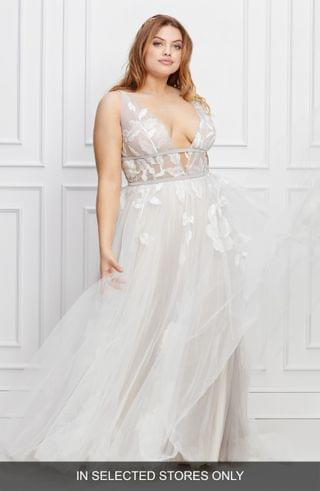 WOMEN Willowby Galatea Embroidered V-Neck Tulle Wedding Dress (Plus Size)
