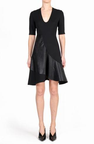 WOMEN Stella McCartney Faux Leather & Wool Fit & Flare Dress