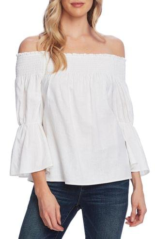 WOMEN Vince Camuto Off the Shoulder Bell Sleeve Linen Blend Blouse