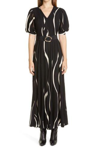 WOMEN Lafayette 148 New York Sutherland Wave Panel Belted Dress