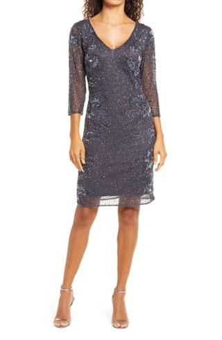 WOMEN Pisarro Nights Beaded V-neck Cocktail Dress