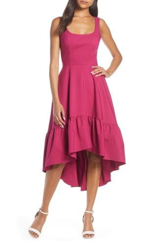 WOMEN Mark & James Badgley Mischka High/Low Ruffle Hem Dress