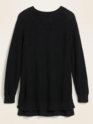 WOMEN Textured Boat-Neck Plus-Size Sweater