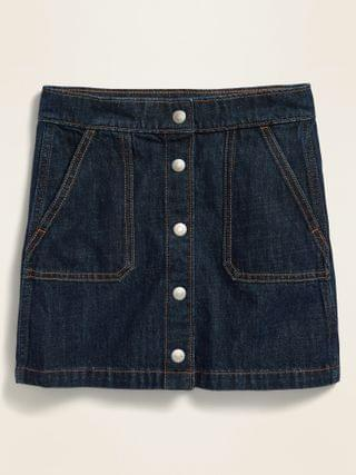 KIDS High-Waisted Snap-Front Jean Skirt for Girls