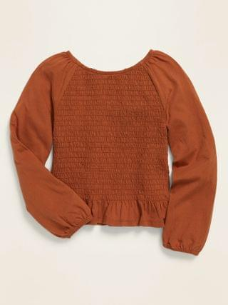 KIDS Long-Sleeve Smocked Jersey Top for Girls