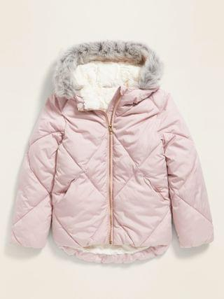 KIDS Frost-Free Faux-Fur Lined Hooded Puffer Jacket for Girls