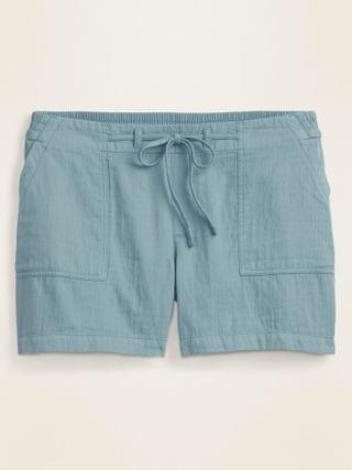 WOMEN Mid-Rise Soft Twill Pull-On Plus-Size Shorts -- 5-inch inseam