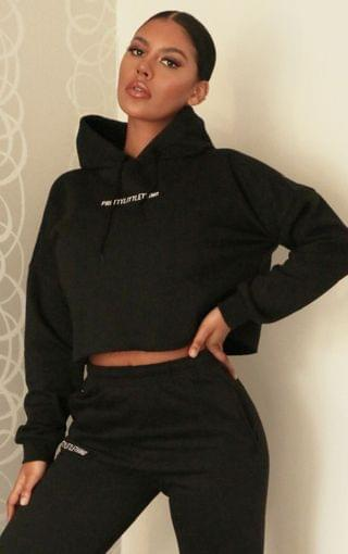 WOMEN PRETTYLITTLETHING Black Embroidered Cropped Slogan Hoodie