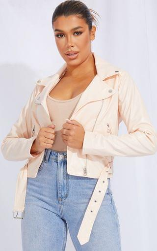 WOMEN Ecru Faux Leather Belted Biker Jacket
