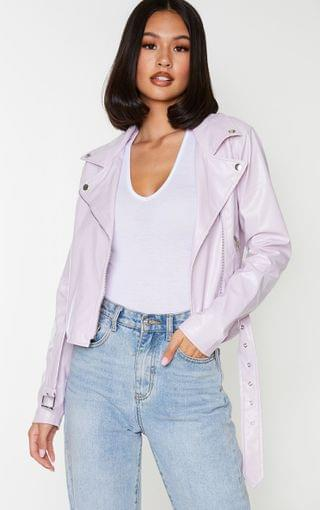 WOMEN Lilac Faux Leather Belted Biker Jacket