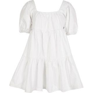 WOMEN White puff sleeve smock