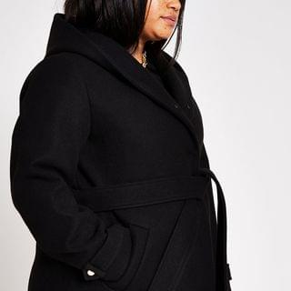 WOMEN Plus Black Belted Fur Hood Robe Coat