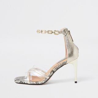 WOMEN Gold crossover perspex high heel