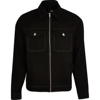 MEN Black zip front denim jacket
