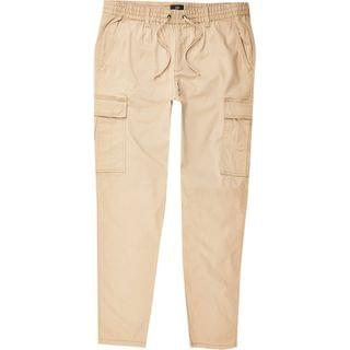 MEN Stone pull on twill skinny fit cargo trousers