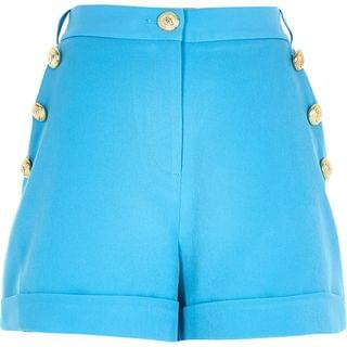 WOMEN Blue button front short