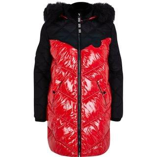 WOMEN Red long sleeve quilted puffer jacket