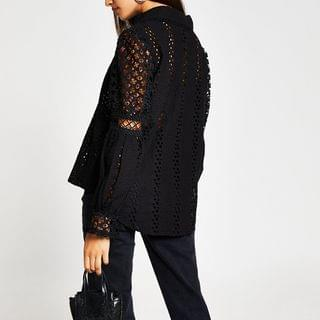 WOMEN Black long sleeve broderie shirt