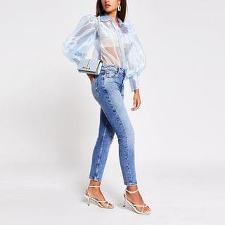 WOMEN Blue Puff Sleeve Organza Shirt