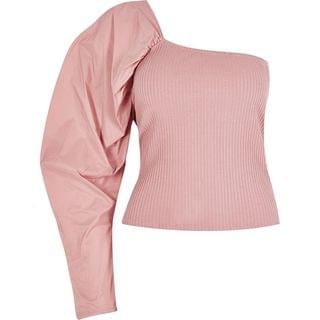WOMEN Pink one shoulder taffeta ribbed top