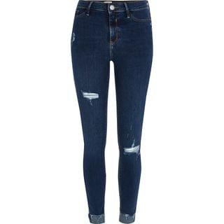 WOMEN Blue Molly mid rise ripped turn up hem jeans