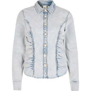 WOMEN Light blue denim long sleeve fitted shirt