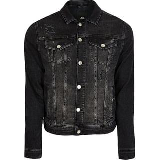 MEN Black washed bleach denim jacket