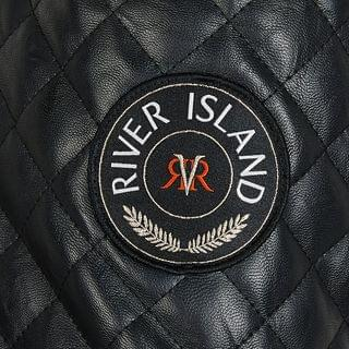 WOMEN Plus Black quilted faux leather padded jacket