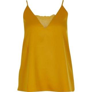 WOMEN Yellow lace V neck cami top
