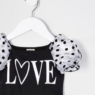 KIDS Mini girls black organza love print bodysuit