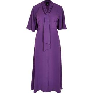 WOMEN Purple pussybow waisted midi dress