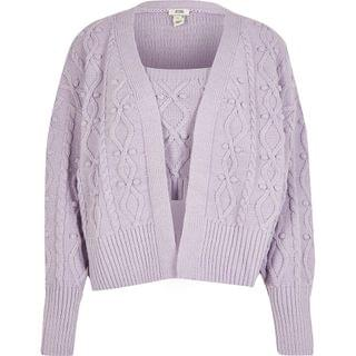 WOMEN Light purple knit cardigan and bralet set